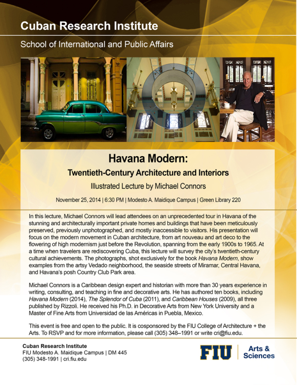 Presentation of Michael Connors' Havana Modern